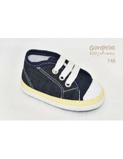 Zapatilla jean con amarillo bebe Gorditoo